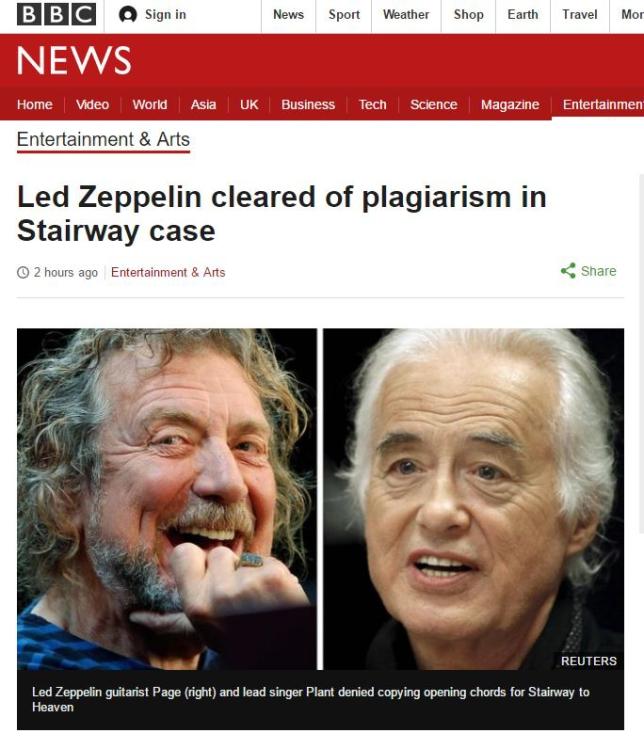 BBCの「ツェッペリンの盗作疑惑が晴れた」と伝える記事